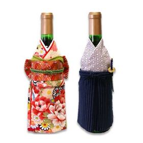Wine bottle cover made with specially-arranged kimono fabric.