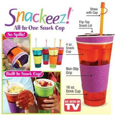 Snackeez Go Anywhere Snack & Drink Cup As Seen On TV