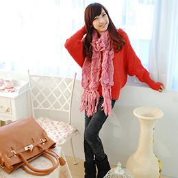 純日式圍巾‧朵朵花《桃粉》