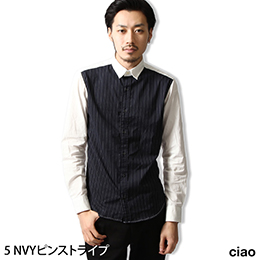 ZIP日本製 前方花紋牧師領襯衫