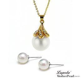 歐巴馬晶鑽貝珠項鍊耳環套組 尊爵金