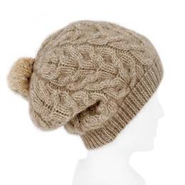 紐西蘭貂毛羊毛貝蕾帽麻花毛球