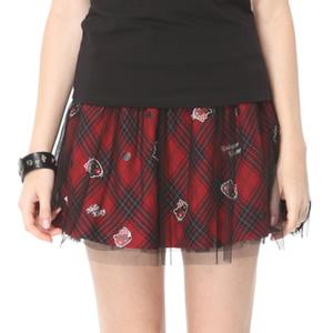 紅格KITTY鉚釘裙