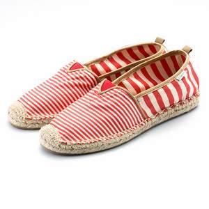 紅色條紋草編鞋