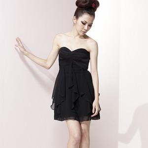 心型交錯平口雪紡洋裝小禮服