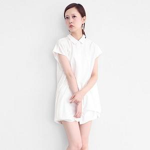 異素材襯衫洋裝