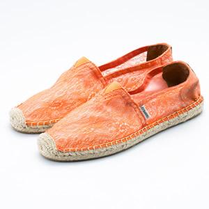 橘色蕾絲草編鞋