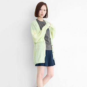 蝙蝠袖長版開襟衫綠色