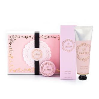 法式甜心禮盒 (玫瑰烏龍茶護手霜+草莓綠茶護唇膏)
