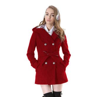 英倫連帽毛料長外套-紅
