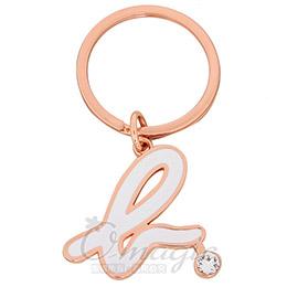 小b-logo 帶鑽鑰匙圈白/玫瑰金滾邊