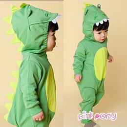 韓國立體綠恐龍包屁衣