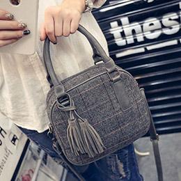韓版格蘭紋毛料流蘇手提包