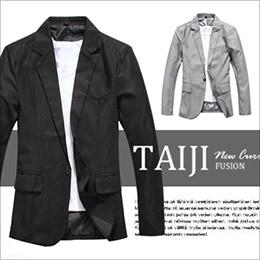 簡約素雅單釦款劍領修身西裝外套