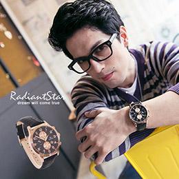 正韓DonBosco假雙眼日期顯示金邊真皮手錶