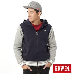 EDWIN 配色厚棉可拆袖 連帽外套