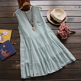 日系棉麻森林系寬鬆連身裙