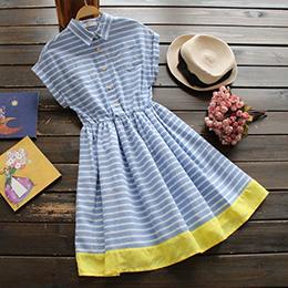 日系短袖條紋棉麻學院風連身裙