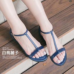 極簡蛇紋T字平底涼鞋