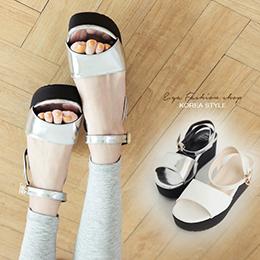 簡約繞帶釦環厚底一字涼鞋(2色)