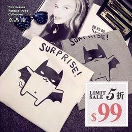 韓版Q版卡通圖蝙蝠侠印花短袖T恤