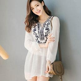 韓版V領繫繩繡花長袖襯衫上衣
