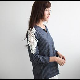 直條V領簍空花紋拼接袖上衣