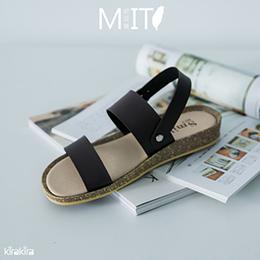 韓系純色一字帶楔型涼鞋