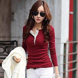韓版拼接打底衫修身顯瘦長袖T恤