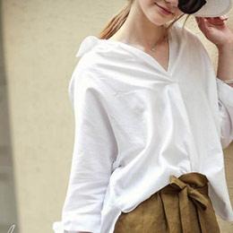 純色袖口綁帶寬鬆長袖襯衫