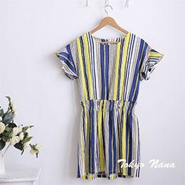 日系圓領短袖鬆緊腰條紋連身裙