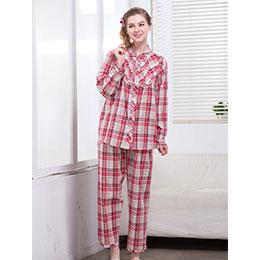 經典格紋俐落家居棉質二件式睡衣