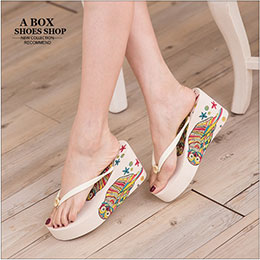 塗鴉著色貓頭鷹圖案楔型拖鞋