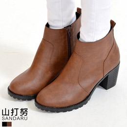 皮革素面粗跟短靴