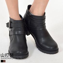 側拉鍊皮帶環短靴