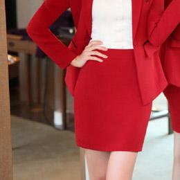 素雅純色OL職業窄裙