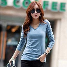 韓版大碼修身長袖V領T恤-5色