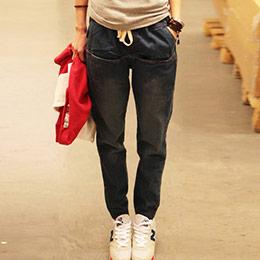顯瘦綁帶寬鬆哈倫牛仔褲