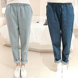 韓版寬鬆顯瘦單寧哈倫褲