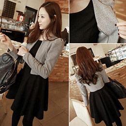 正韓版顯瘦收腰洋裝+外套兩件式套裝