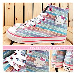 凱蒂貓高筒帆布鞋