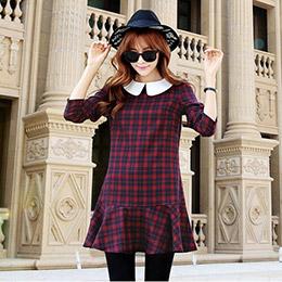 超韓系格紋連身洋裝