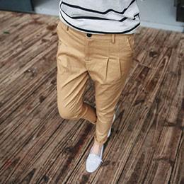 打摺後鬆緊窄管褲(四色)