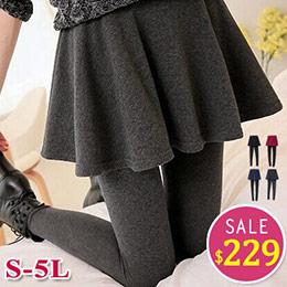 S-5XL尺寸│假兩件大圓裙內搭長褲(4色)