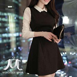 S-XL尺寸│甜美假兩件長袖洋裝