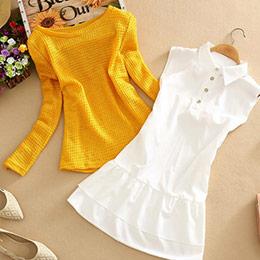 雪紡襯衫+針織上衣(M-3XL)