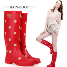 3色│修飾防滑圓點高筒雨鞋