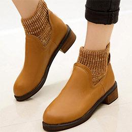 短靴韓版毛絨套粗跟踝靴棕色