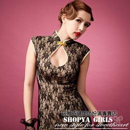 復古風蕾絲刺繡低胸旗袍