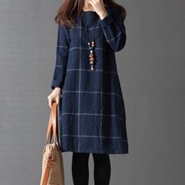 日森系格紋棉麻洋裝 (M~2XL)